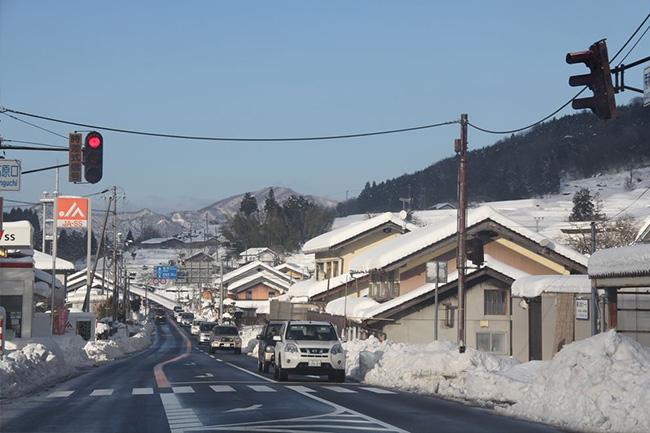 写真:車から見える雪景色