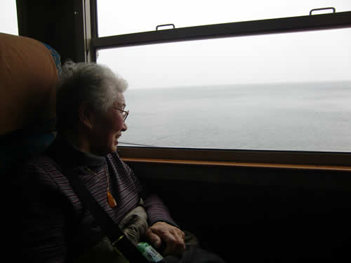 写真:車窓を眺めて楽しそう